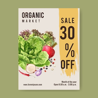 Plantaardige aquarel verfcollectie. de vlieger gezonde illustratie van de vers voedsel organische affiche
