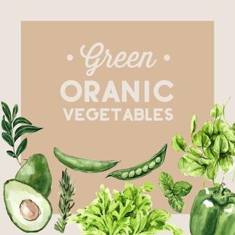Plantaardige aquarel verfcollectie. gezonde de advertentieillustratie van het vers voedsel organische decor