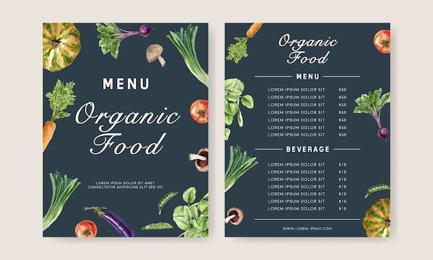 Plantaardige aquarel verfcollectie. gezonde illustratie van het vers voedsel de organische menu