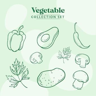 Plantaardige collectie decorontwerp illustratie