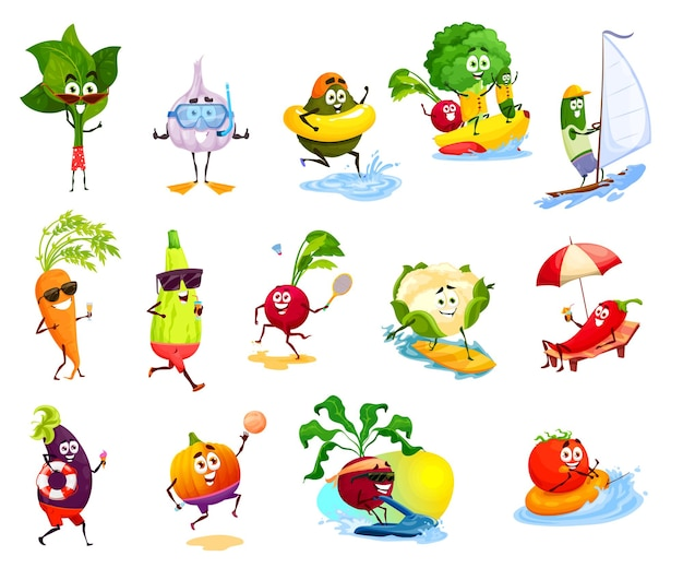 Plantaardige karakters op strandvakantie, zomeractiviteiten, reizen en vakantie. leuke tomaat, chilipeper, wortel en knoflook, broccoli, courgette of avocado
