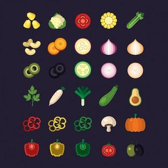 Plantaardige pictogrammen collectie