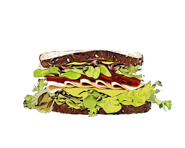Plantaardige sandwich aquarel