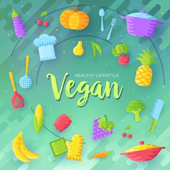 Plantaardige sjabloon. vegetarische uitnodiging concept. lay-out gezonde voeding illustraties moderne pagina's