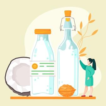 Plantaardige veganistische nootachtige melk. gezond alternatief voor koeien voor lactosemelk Premium Vector
