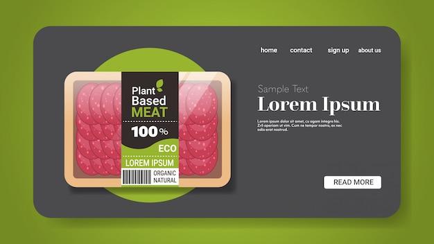 Plantaardige vegetarische salami plakjes buiten vlees in verpakking biologische natuurlijke vegan food concept horizontale kopie ruimte