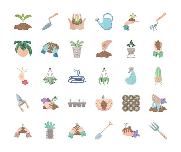 Plantage tuinieren en gereedschap