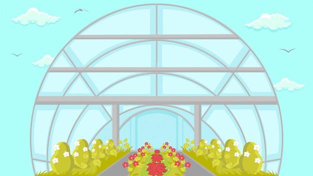 Plantation in greenhouse cartoon afbeelding