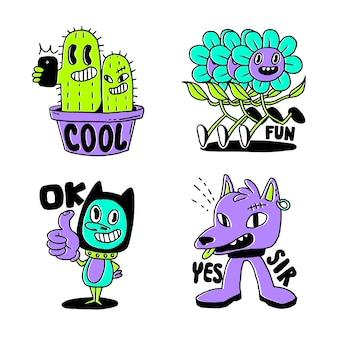 Planten en grappige karakters hand getekende sticker