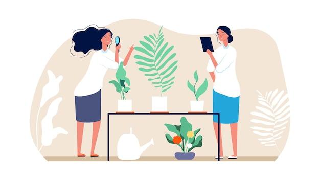Planten en tuinieren. bloemistenvrouwen, huistuinconcept.