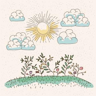 Planten in de heuvel in zonnige dag