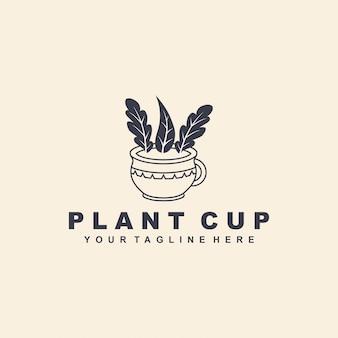 Plantenbeker met vlak stijllogo