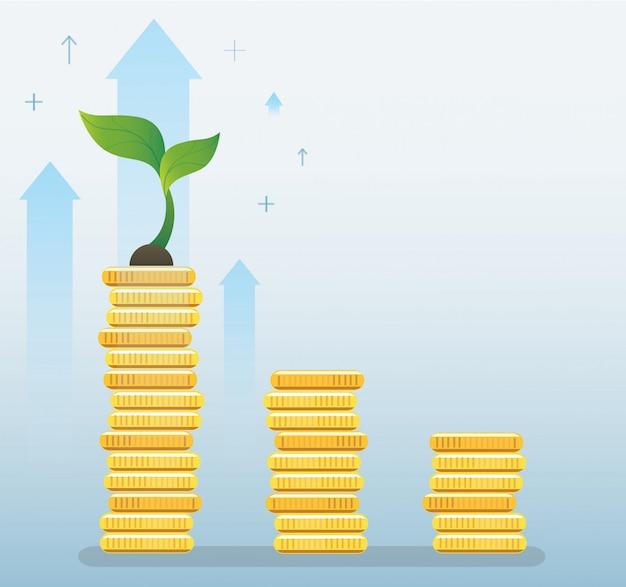 Plantengroei op munten grafiek