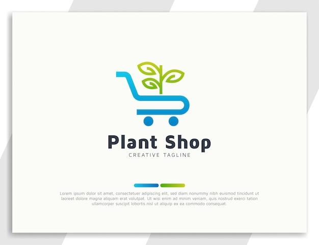 Plantenwinkel of winkellogo met bladeren en trolleyconcept