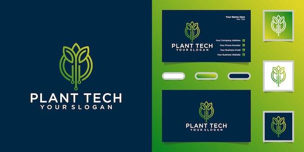 Planttechnologie, logo met ontwerpsjabloon voor circuits in lijnstijl en visitekaartje
