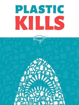 Plastic afval oceaan milieu probleem concept vector illustratie haai overzicht gevuld met
