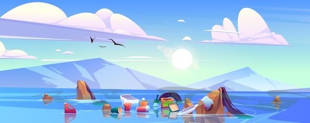 Plastic afval op de vervuiling van het oceaanwateroppervlak