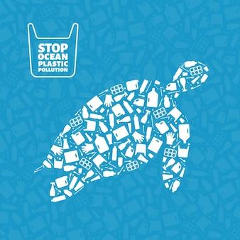 Plastic afval planeet vervuiling concept vector illustratie schildpad mariene reptiel silhouet gevuld