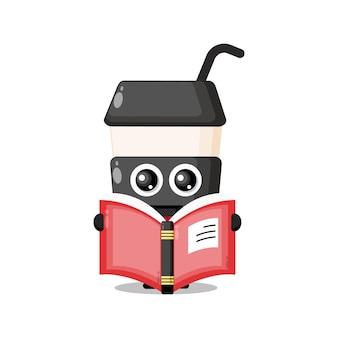 Plastic beker koffie boek schattig karakter mascotte
