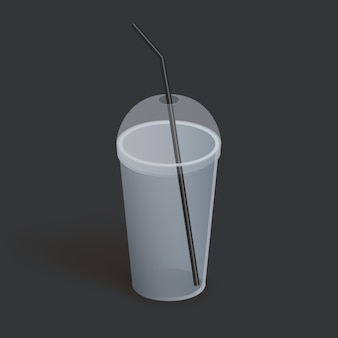 Plastic beker met deksel voor koffie, thee, smoothies, sap. realistisch leeg glas. illustratie op donkere achtergrond.