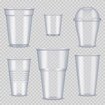Plastic bekers. transparant leeg vat voor drank, eten en drinken sjabloon van plastic bekers vector realistische afbeeldingen. bekerhouder plastic, transparant wegwerp ter illustratie van de drank
