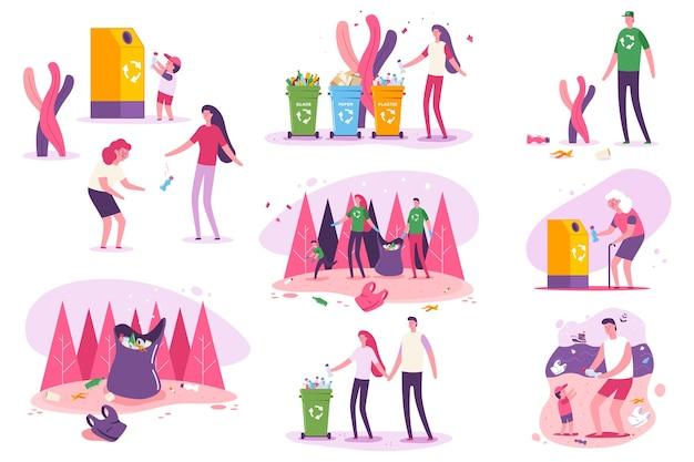 Plastic bewustzijn en milieukwesties over de hele wereld vector concept illustratie. familie schone stranden en bossen.