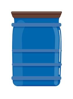 Plastic blauwe cilinder reservoir geïsoleerd op een witte achtergrond