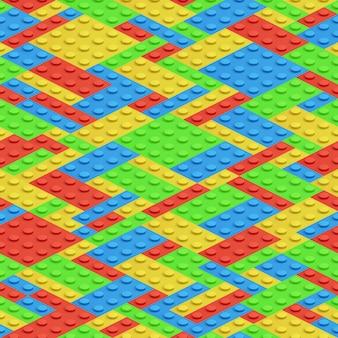 Plastic bouwstenen, 3d bakstenen vector naadloos patroon