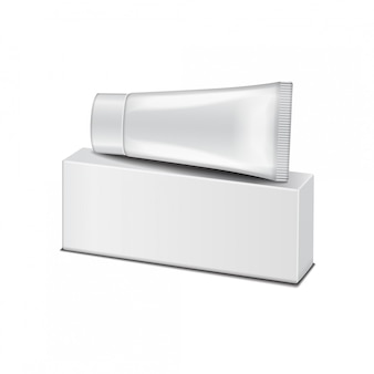 Plastic buis op de witte doos - crème, gel, huidverzorging, tandpasta. klaar voor je. verpakkingssjabloon.