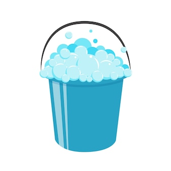 Plastic emmer met handvat vol zeepsop. schuim en bubbels.
