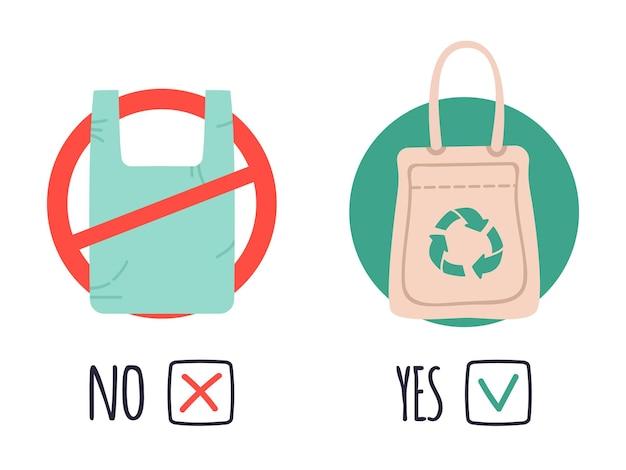 Plastic en eco-tassen