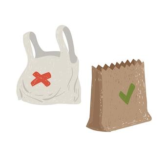 Plastic en papieren zakken. milieuvriendelijk concept. behoud van het milieu.