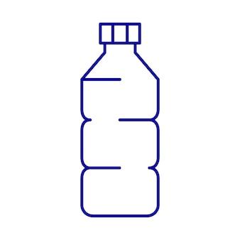 Plastic fles lijn ontwerp icoon blauwe kleur lineaire icoon van fles voor verschillende doeleinden