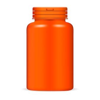 Plastic fles met medicijnpillen in oranje kleur