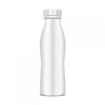 Plastic fles met schroefdop voor zuivelproducten. voor melk, drink yoghurt, room, dessert. realistische pack-sjabloon