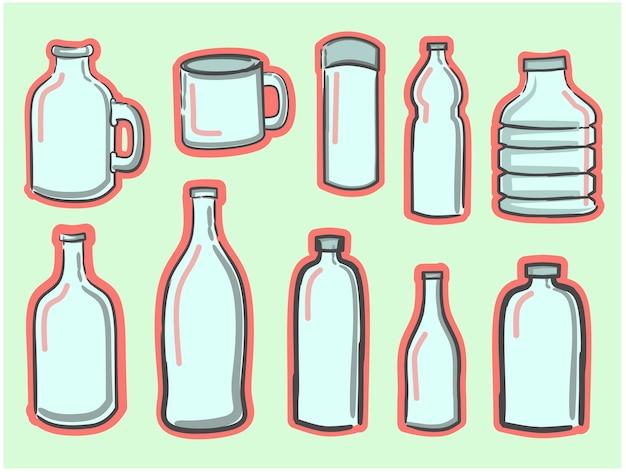 Plastic fles vector cartoon set pictogram platte ontwerp vector illustratie watercontainer