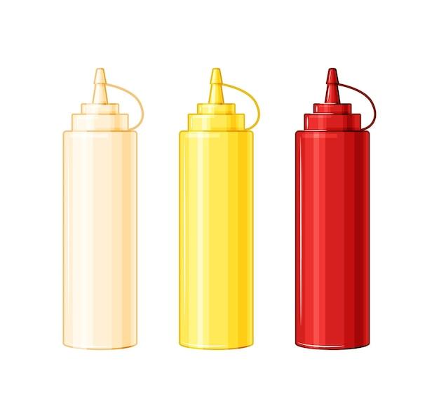 Plastic flessen met mayonaise, ketchup, mosterd. sauzen voor voedsel op een witte geïsoleerde achtergrond. vector illustratie.
