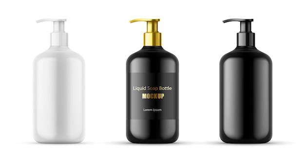 Plastic flessenset met dispenserpomp voor vloeibare zeep, gel, lotion, crème, shampoo, badschuim en andere cosmetica. lege productverpakkingssjabloon