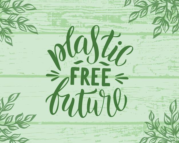 Plastic gratis toekomst - badge met houten achtergrond en bladeren. vectorillustratie met hout groene textuur. belettering typografie poster.