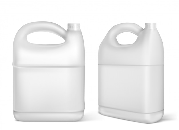 Plastic jerrycans, witte jerrycan geïsoleerde flessen