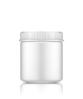 Plastic kruikmodel dat op witte achtergrond voor pakketontwerp wordt geïsoleerd
