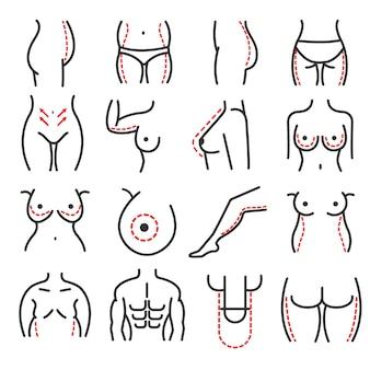 Plastic lichaam cosmetische chirurgie vector lijn pictogrammen instellen