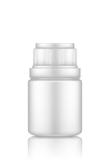Plastic medicijnpillen of supplementflesmodel dat op witte achtergrond wordt geïsoleerd