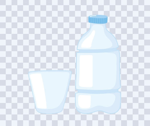 Plastic of glazen bekersflessen, wegwerpfles en beker vectorillustratie