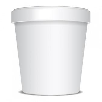 Plastic of papieren emmer voedselcontainer voor ijs, dessert, yoghurt, zure room of snacks.