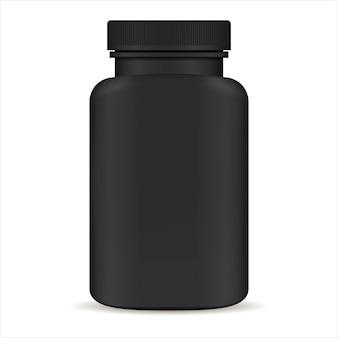 Plastic pil fles. zwarte 3d vectorillustratie. geneeskundepakket voor pillen, capsules, medicijnen. supplementen voor sport en gezondheid.