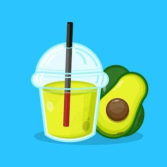 Plastic sap beker avocado schattig icoon