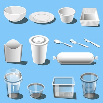 Plastic serviesgoed wegwerp servies vector iconen
