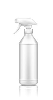 Plastic spuitpistool ontsmetten fles mockup geïsoleerd op een witte achtergrond
