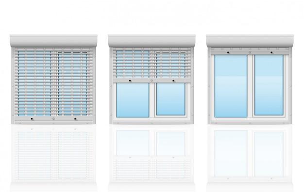 Plastic venster achter metaal geperforeerde rollende blinden vectorillustratie